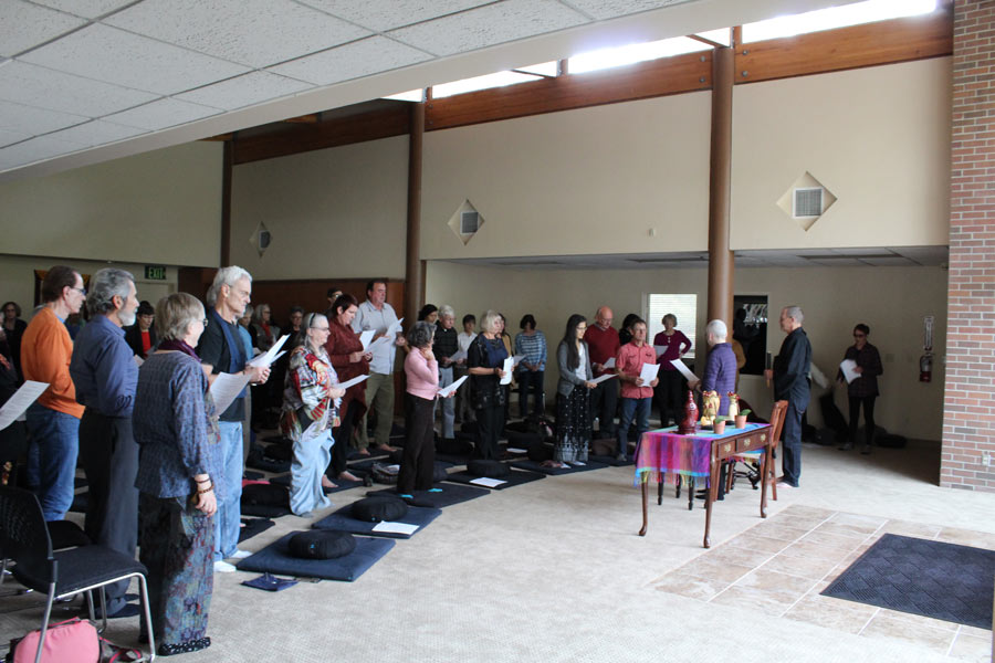 Goup of people at meeting on Sacramento Dharma Center