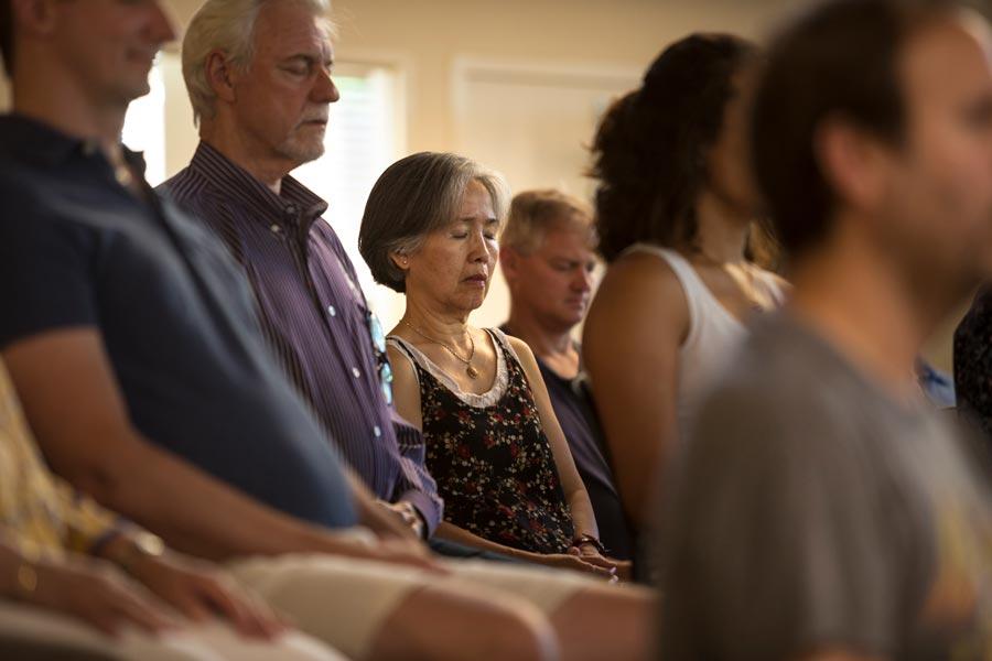 People meditating on Sacramento Dharma Center