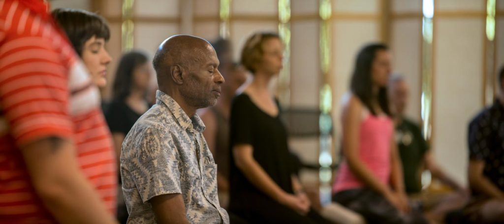 Man meditating on Sacramento Dharma Center